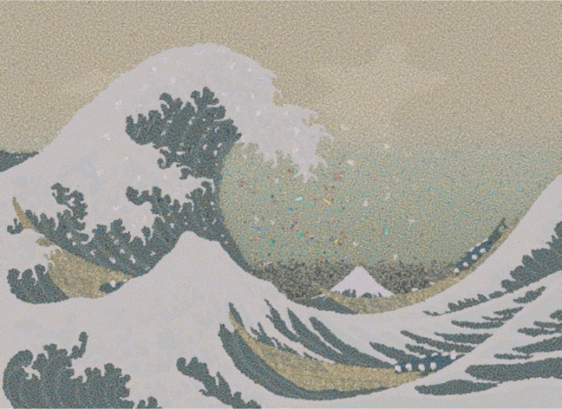 Great Wave ( 1830 Kanagawa)  ; Chris Jordan  Japon Sanatçının klasik eseri okyanustan toplanmış plastik parçaları ile resmedilmiş ; Çağdaş sanat formu niteliğinde arananlar düşünüldüğünde sanatçının başarısı anlaşılabilir.