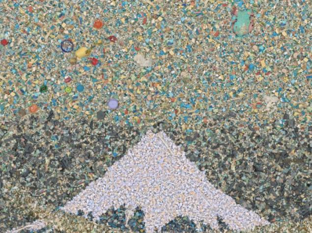 chris jordan; çalışmasında 2.4 milyon plastik parçası kullanmış, kavramsal olarak 1830'ların taş baskısına günümüz kirliliğinden bir gönderme içeriyor.Fikir ve yaratıcığın  uyumlu işbirliğinin yanısıra işçiliğin gücü, yapıtın gücünü arttırıyor.