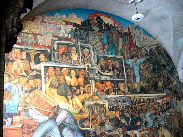 Diego Rivera / Meksika Tarihi ( Detay) / Duvar resmi