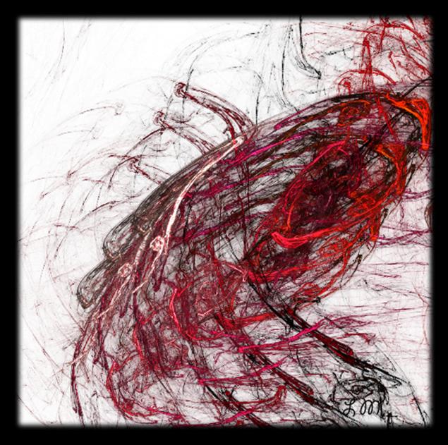 Balık formundan hareketle çizgi ve rengin kompozisyonu.