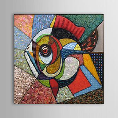 Merkezi bir daire içinde geometrik parçalanmış renkli bir soyut balık. ( Balık formundan söz edebiliriz.)